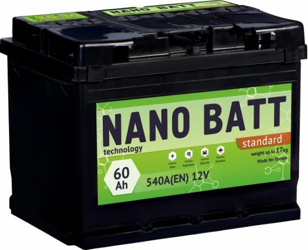 Аккумулятор NANO BATT  Standart - 60 +левый (540 пуск) 2020!!!