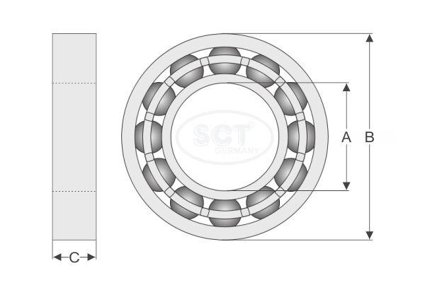 Подшипник ступицы SCT SCP 869 Dacia Aveo Geely CK задний  (24)