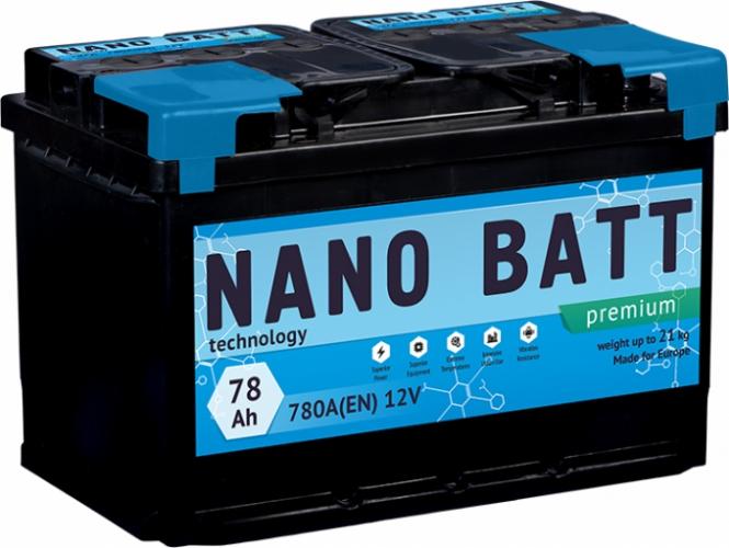 Аккумулятор NANO BATT  Premium - 78 +правый (780 пуск) 2020