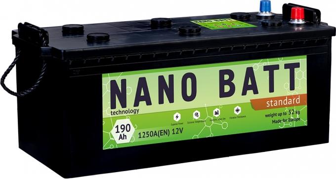 Аккумулятор NANO BATT  Standart - 190 (евробанка) (1250 пуск) 2020