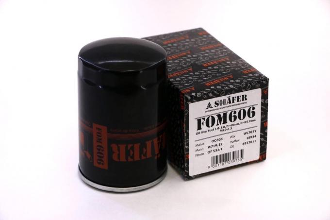 Фильтр масляный SHAFER  FOM606  Ford 1.0-4.0, D=68mm, H=123mm, 3/4